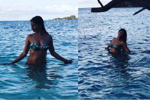 tanisha mukherjee at sea beach in bikini